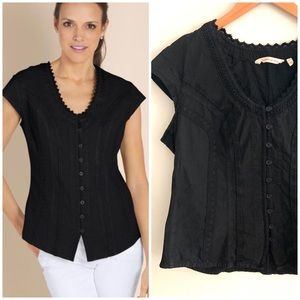 Soft Surroundings | Black Taos Top Size PM